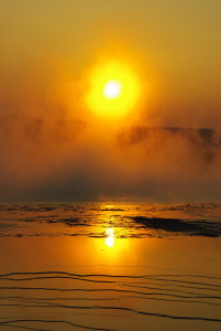 sunset on Grand Prismatic Spring